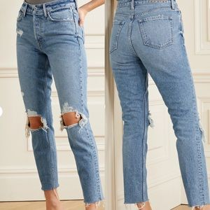 GRLFRND High Rise Distressed Jeans Size 30